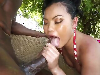 Sexy asian babe blowjobs before hard be hung up on hugh cock black
